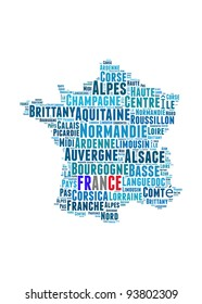 France map and words cloud with larger cities