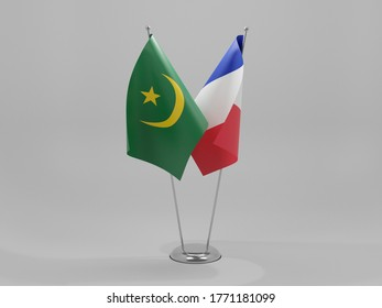 France - Mauritania Cooperation Flags, White Background - 3D Render