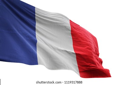 France national flag waving in the blue sky realistic 3d illustration isolated on white background