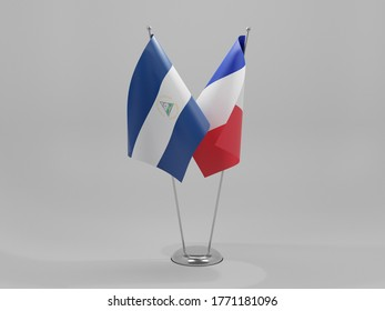France - Nicaragua Cooperation Flags, White Background - 3D Render