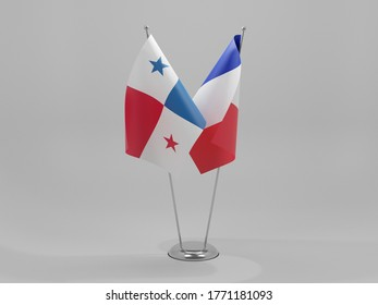France - Panama Cooperation Flags, White Background - 3D Render