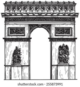 France. Paris. the arc de Triomphe on a white background. sketch
