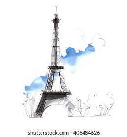 France, Paris urban sketch. Eiffel tower illustration on white background with blue sky. Architectural drawing of historical building. Ink, pencil, watercolor.