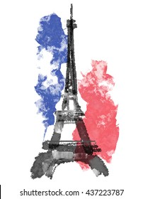 France, Paris urban sketch. Eiffel tower illustration on white background with flag.. Architectural drawing of historical building. Watercolor, digital painting.