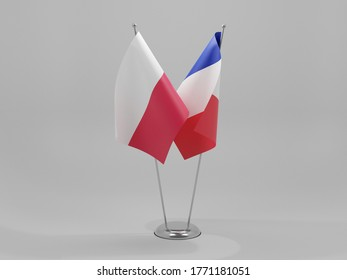 France - Poland Cooperation Flags, White Background - 3D Render