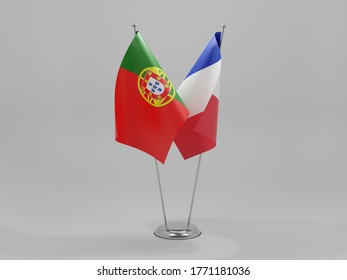France - Portugal Cooperation Flags, White Background - 3D Render