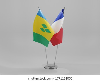 France - Saint Vincent and The Grenadines Cooperation Flags, White Background - 3D Render
