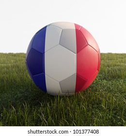 france soccer ball isolated on grass