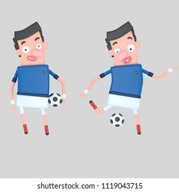 France soccer player. 3d illustration