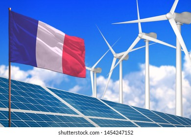 France solar and wind energy, renewable energy concept with windmills - renewable energy against global warming - industrial illustration, 3D illustration