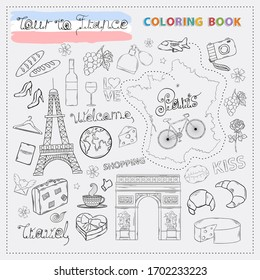 France tour icon set.Hand draw doodle sign collection.Colorin book travel to France
