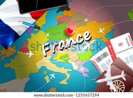 Map Of France Kisses.France Travel Concept Map Background Planes Stock Illustration