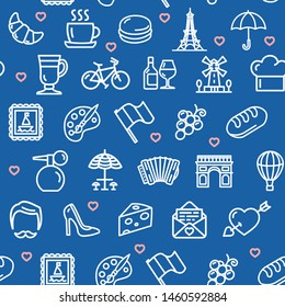 France Travel and Tourism Seamless Pattern Background on a Blue for Business and Service Bakery or Cafe. illustration
