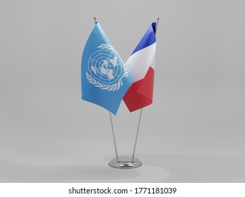 France - United Nations Cooperation Flags, White Background - 3D Render