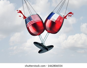 France USA wine tariff trade war and American tariffs global trade dispute as two opposing glasses with wines as French tax economic conflict over import and exports as a 3D illustration.