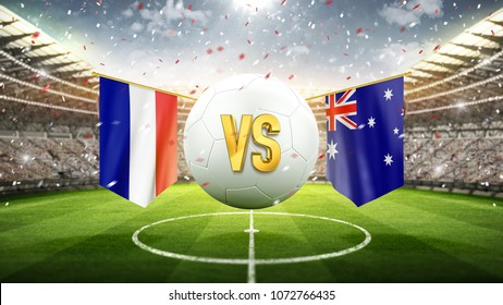 France vs Australia. Soccer concept. White soccer ball with the flag in the stadium, 2018. 3d render