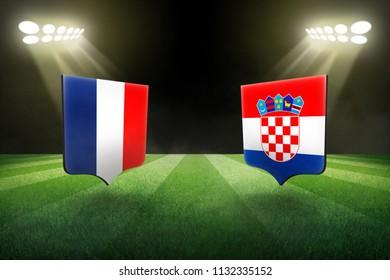 France vs Croatia, football match in the stadium at night concept