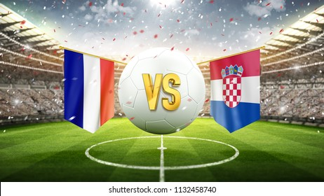 France vs Croatia. Soccer concept. White soccer ball with the flag in the stadium, 2018. 3d render