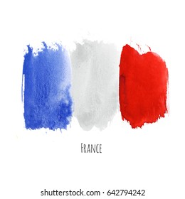 France watercolor national country flag icon. Hand drawn illustration with colorful dry brush stains, strokes and spots isolated on white background. Painted grunge texture for posters, banner design.