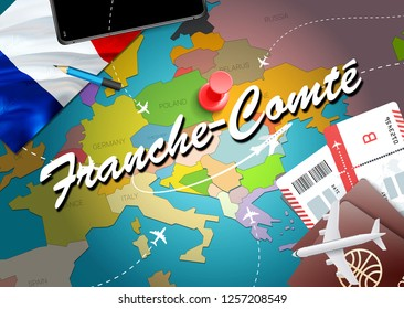 Franche-Comte city travel and tourism destination concept. France flag and Franche-Comte city on map. France travel concept map background. Tickets Planes and flights to Franche-Comte holidays
