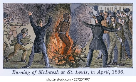 Francis L McIntosh a free mixed-raced boatman killed St. Louis's deputy sheriff, George Hammond, while resisting arrest. Illustrations of the Antislavery Almanac for 1840.