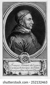 Francisco Jimenez de Cisneros (1436-1517), Spanish prelate who undertook the forcible conversation of the Moors and later became Inquisitor General of The Spanish Inquisition.