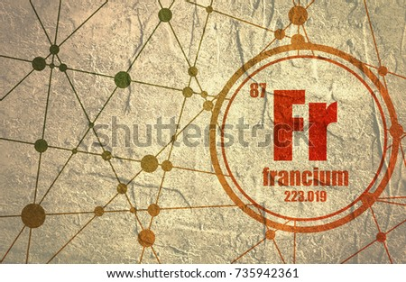 Francium Chemical Element Sign Atomic Number Stock Illustration