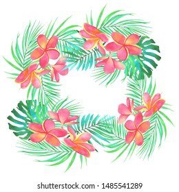 frangipani flowers tropical leaves monstera watercolor botanical illustration composition nature isolated background wreath frame