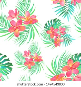 frangipani flowers watercolor botanical illustration composition bouquet palm leaves monstera nature white background seamless pattern for wallpaper and fabric