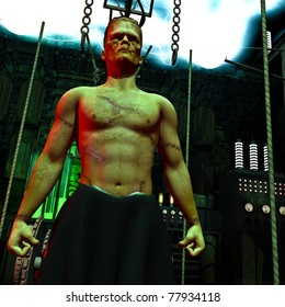 Frankenstein monster  up close. In the mad scientists laboratory. Lightning flashing across the ceiling conductors. Vintage lab electronic equipment, chains and lights in background. Illustration.