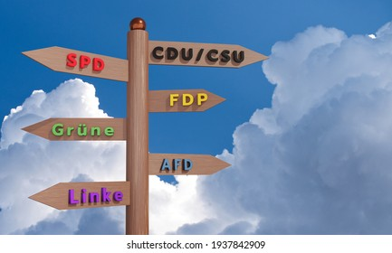 FRANKFURT GERMANY - MARCH 17, 2021: German federal election 2021. Fingerpost with signs of the German parties. Shows in the direction of the political convictions of the party. 3D illustration.