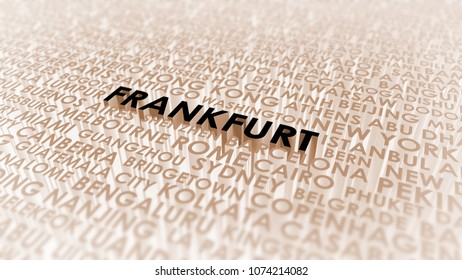 Frankfurt lettering, 3d illustration of world's cities.