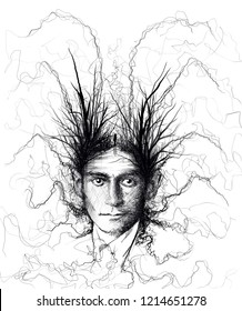 Franz Kafka cockroach portrait sketch-illustration
