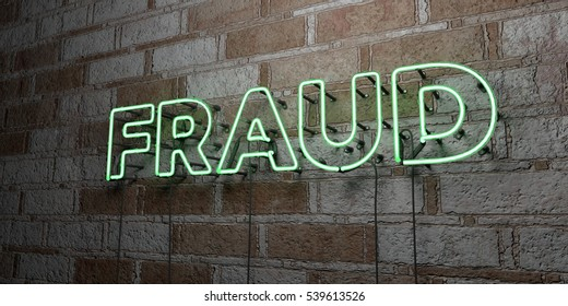 FRAUD - Glowing Neon Sign on stonework wall - 3D rendered royalty free stock illustration.  Can be used for online banner ads and direct mailers.