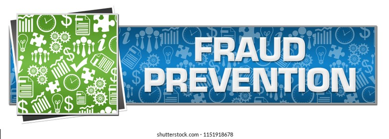 Fraud prevention text written over green blue background.