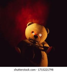 Freaky teddy bear in the dark,3d rendering