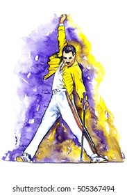 Freddie Mercury dancing with microphone on stage in yellow jacket and white trousers, hand drawn watercolor illustration