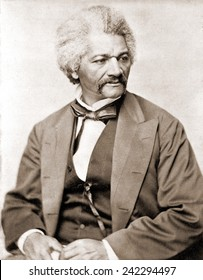 Frederick Douglass (1818-1895), former slave and abolitionist broke whites' stereotypes about African Americans in the decades prior to the U.S. Civil War. 1855 portrait.