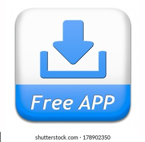 Free app download button or gratis apps icon downloading blue sign or label