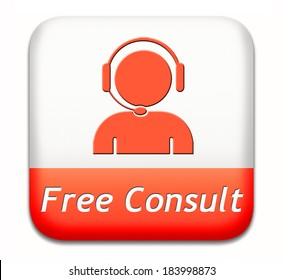 free consult button or help and information desk icon optimal customer support Gratis consultation service and advice.
