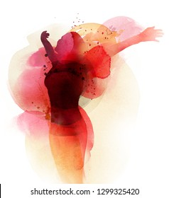 Free created watercolor Image. Woman shows her luck by throwing hands up.