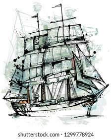 Free digital drawing. Picture shows a old sailing ship in ink style isolated on white background.