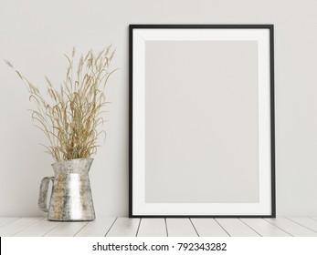 Free frame mock up, comoposition on wooden floor, 3d render, 3d illustration
