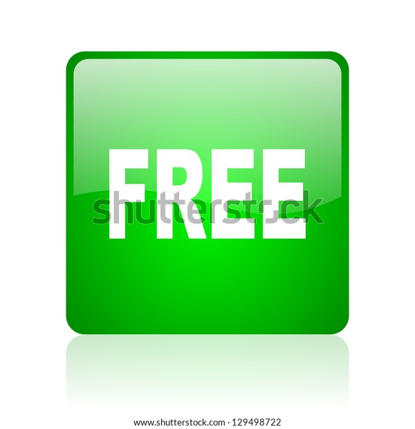 free green square web icon on white background