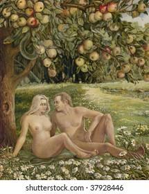 Free interpretation of Adam and Eva paradise scene. Oil on canvas.