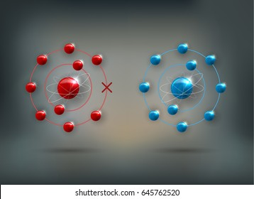 Free radical with missing electron there are unpaired electrons and stable, normal molecule.