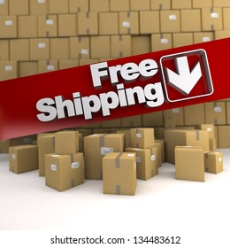 Free shipping banner on a background with piles of boxes