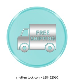 "free shipping button isolated. ""3d illustration"""