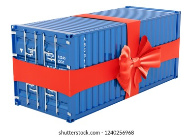 Free Shipping concept. Cargo Container with bow and ribbon, 3D rendering isolated on white background