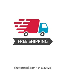 Free shipping icon, flat style truck moving fast and free shipping text label, fast delivery badge isolated on white image
